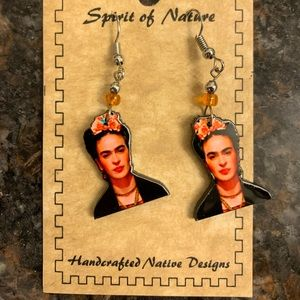 Handcrafted Earrings Depicting Frida Kahlo